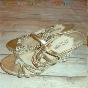 Michael kors sz 6.5 gold ankle strap wedge shoes